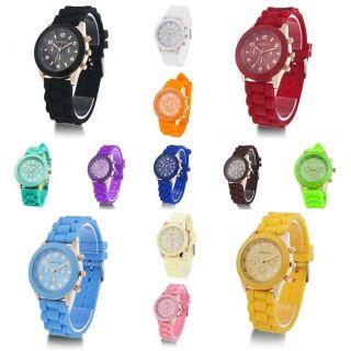 Eine Sillikon Uhr 13 Farben Geneva Elegant Designer Gold Armband Quarz Modern Bild