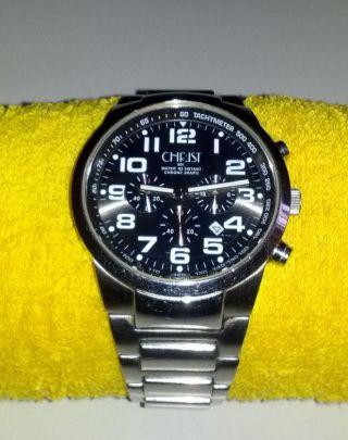 Herrenarmbanduhr Uhr Chronograph Christ Analog Silber Metallarmband Bild
