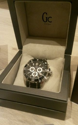 Gc Guess Luxus Uhr Chronograph Sport Class Xxl Swiss Ceramic & Ovp Bild