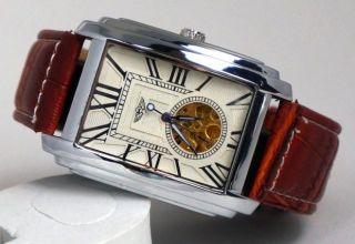 Automatik Edel Herrenuhr Mechanisch Leder Armband Geschenke Box Bild
