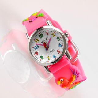 Kinder Mädchen Vive Lernuhr Armband Uhr Silikon Watch Analog Pink Papagei 33 Bild