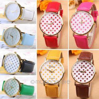 Mode Damen Mädchen Quarz Kleine Punkte Zifferblatt Armbanduhr Geschenk 8 Farben Bild