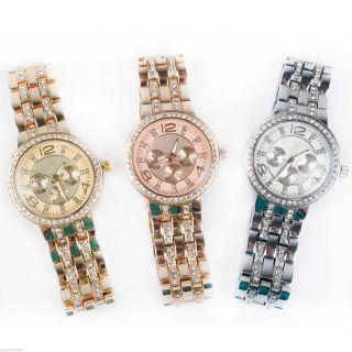Designer Strass Damenuhr Armband Uhr Chronograph - Optik Rose Gold Silber Uhr02 Bild