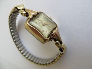 Bezaubernde Junghans Damen Armbanduhr Handaufzug Walz Gold Läuft Bild