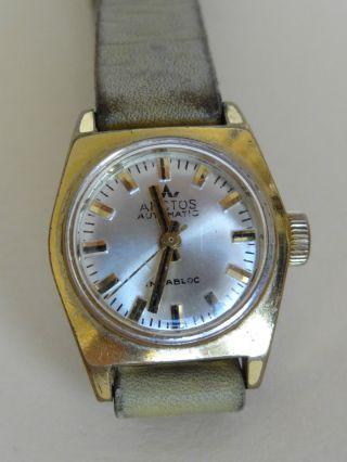Alte Armbanduhr Arctos Automatic Incabloc Mit Lederarmband Uhr Bild