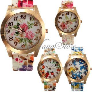 Elegante Frauen Blume Armbanduhr Sillikon Mädchen Quarzuhr Gedruckt Uhren Mode Bild