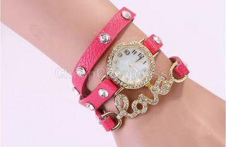 Süße Niedliche Armbanduhr Leder - Armband Kristall L - O - V - E Mädchen Damen De 6 Bild