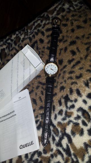 Meister Anker Damen Uhr Lederarmband Schwarz Wasserdicht Und Datum Elegant Hot Bild