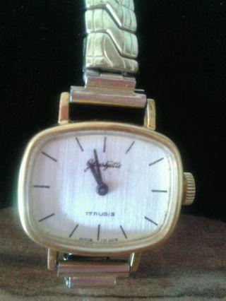 Glashütte Damenuhr Vergoldet Mit Flexarmband Und Handaufzug Bild