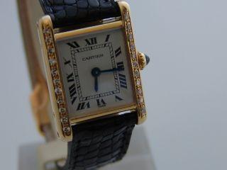 Cartier Tank Uhr 18k Gelbgold Handaufzug Damenarmbanduhr Bild