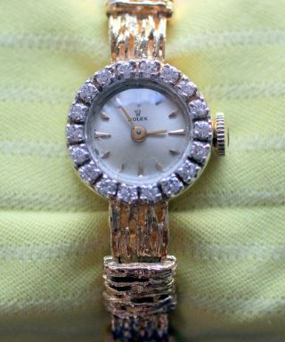 Rolex Dau 585 Gelbgold 18 Diamanten 0,  36 Karat Vintage 60er Jahre Bild