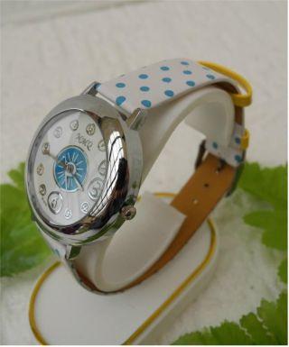 Armbanduhr Mit Polka Dots Rockabilly Style Motiv - Blau Gepunktet - Dornschließe Bild