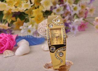 Bestseller Charmante Neue Vergoldete Armbanduhr Mädchen Damen Kristall Strasshc Bild
