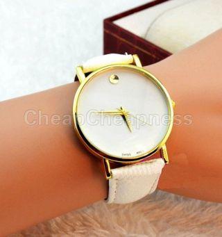 Einfache Zifferblatt Leder Schwarz Quarz - Analog - Armbanduhr Für Damen Mädchen De Bild