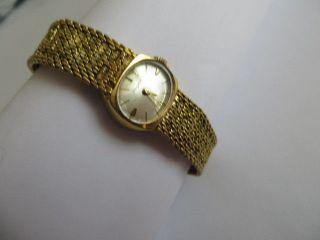 Bezaubernde Dugena Damen Armbanduhr Schweiz Mechanisch Gold Läuft Bild