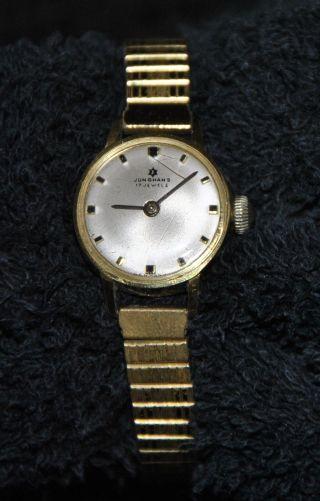 Armbanduhr Damen Junghans Handaufzug Goldfarben Ca.  1960 Bild