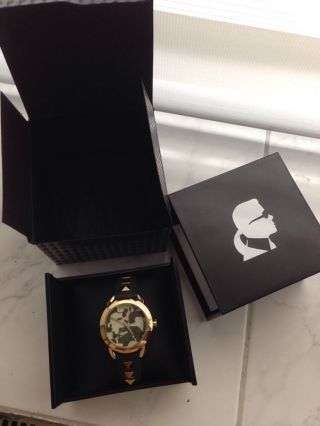 Karl Lagerfeld Damenuhr Pop Kl2208 Gold Military Camouflage Np 199€ Bild