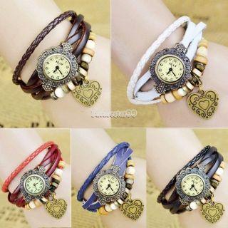 Leder Armbanduhr Vintage Retro Wickeluhr.  Uhr Mit Liebe Herz.  Farbe Nach Wahl Uhr Bild