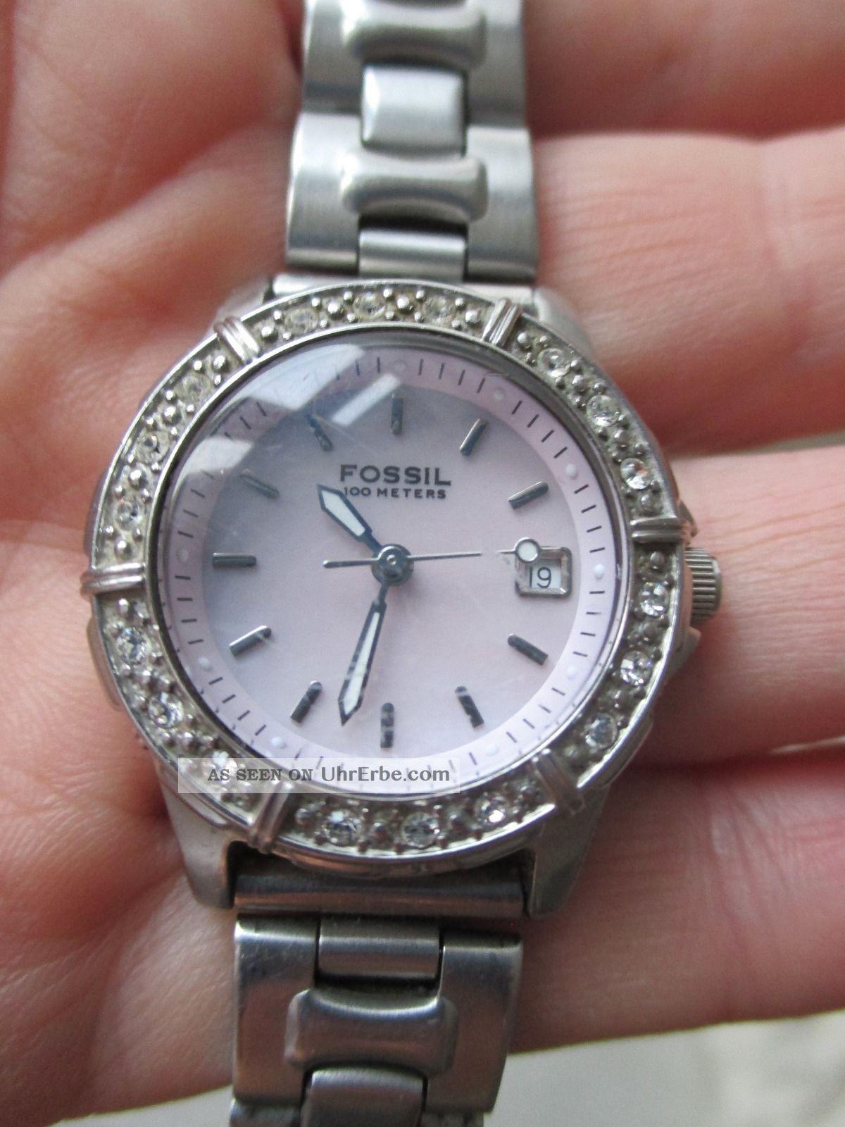 fossil armbanduhr damenuhr strass rose silber rosa leder. Black Bedroom Furniture Sets. Home Design Ideas