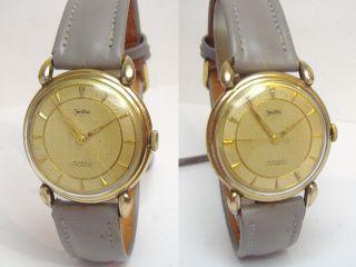 Zentra Goldene 50er Herrenuhr Mit Grauem Lederband Felsa 465 35mm Bild