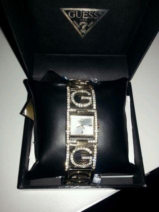 Orig.  Guess Damen Uhr Gold Swarovski Steine Bild