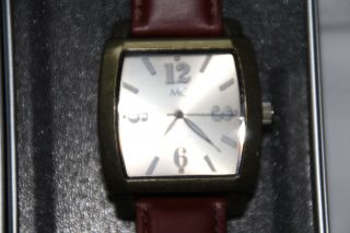 Damen Uhr Mc Gehäuse Messingfarben Lederarmband Braun Bild