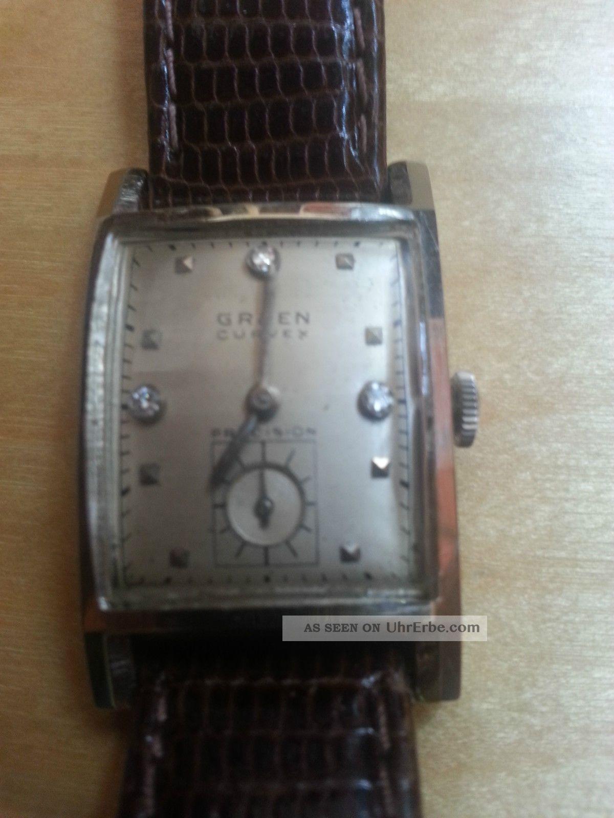 Gruen Precision Curvex Cal.  440 14kt Weissgold Zifferblatt Mit Diamanten Armbanduhren Bild