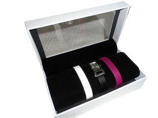 Lugano Armbanduhr Mit 3 WechselarmbÄndern Echt Leder In Geschenkbox Bild