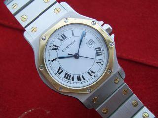 Cartier Santos Ronde Medium - 750 Gold/stahl - 1a & Revision - Automatik Bild