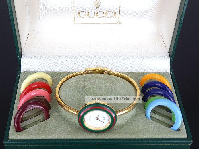 Gucci Uhr Damenuhr 1100 L Stahl Vergoldet Mit 11