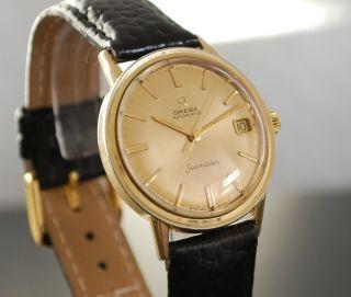 Omega Seamaster Vintage 14k Gold Gehäuse Automatik Herren Armbanduhr Bild
