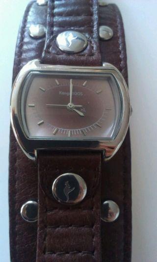 Damenuhr Kangaroos Echte Leder Armbanduhr Braun Mit Silberelementen Bild