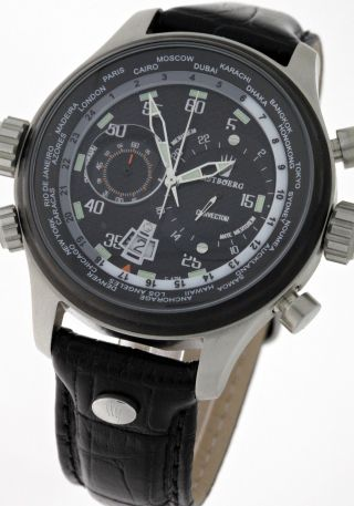 Astboerg Convector Ii Weltzeit Chronograph At10291ss Limited Box&papiere - Bild