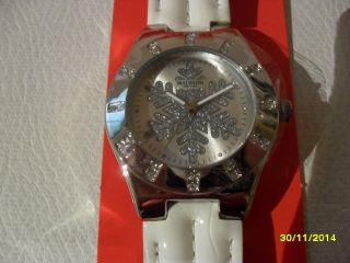 Armbanduhr V.  Madison Winterlich,  Weihnachtl. ,  Armband Weiß F.  Damen,  Schneeflocke Bild