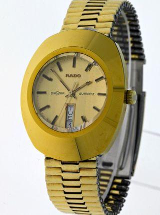 Vintage Rado Diastar Herren Tag&datum Quartz - Gold Capped - Siebziger Jahre Bild
