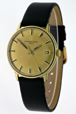 Vintage Eterna Matic 1000 Datum 20 Micron Gold Herrenuhr - Sechziger Jahre Bild
