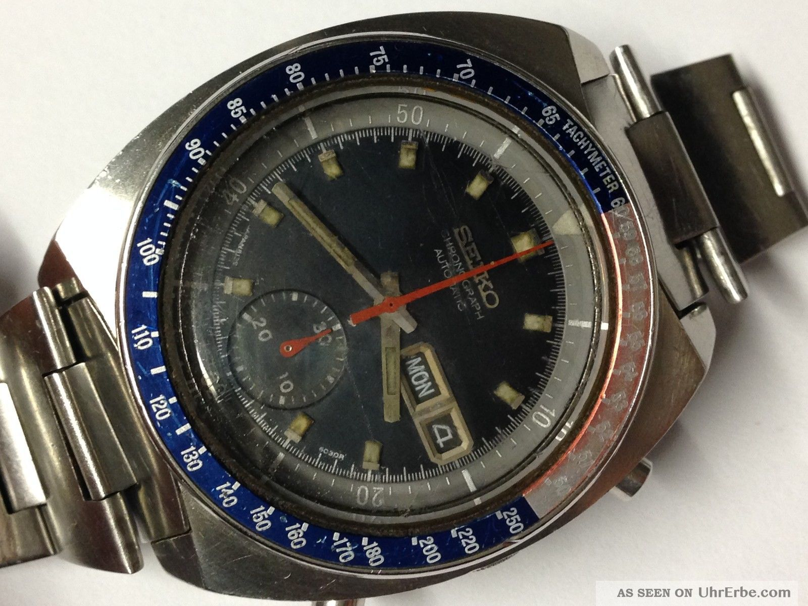 vintage 70er seiko chronograph herren uhr automatic. Black Bedroom Furniture Sets. Home Design Ideas