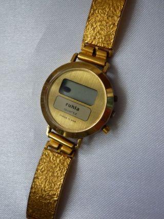 Ruhla Uhr Ddr Veb Digital Quarz Damenuhr Jugenduhr Armbanduhr Goldfarbig Bild