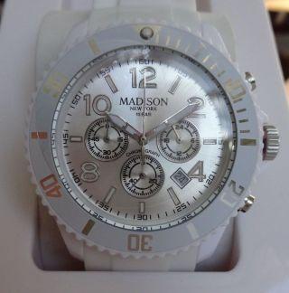 Madison York Chronograph - Unisex - Armbanduhr - Weiss Bild