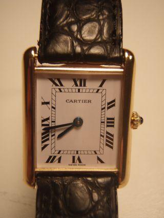 Cartier Tank Damenarmbanduhr Massivgold 18k Mit Faltschließe Massivgold 18k Bild