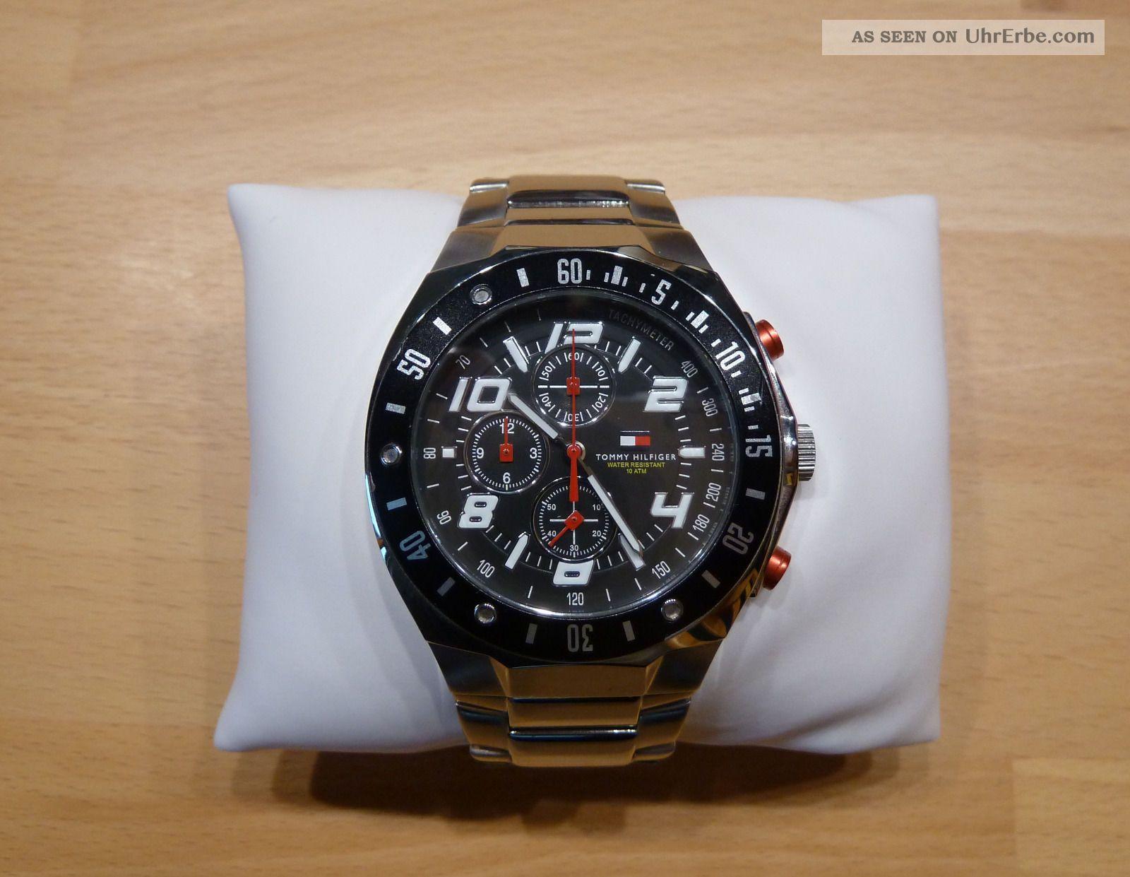 tommy hilfiger armbanduhr chronograph fliegeruhr uhr wasserdicht 100m. Black Bedroom Furniture Sets. Home Design Ideas
