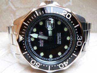 Nautec No Limit Deep Sea Bravo Taucheruhr 30 Atm Chronograph Automatik Edelstahl Bild