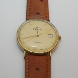 Majestic Herren Armbanduhr Gold (14k,  0.  585) Sehr Gut Erhalten,  Lederarmband Bild