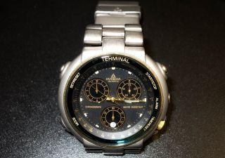Dugena Terminal Chronograph Titanium Analoge Quartzuhr 100m Water Resistant Bild