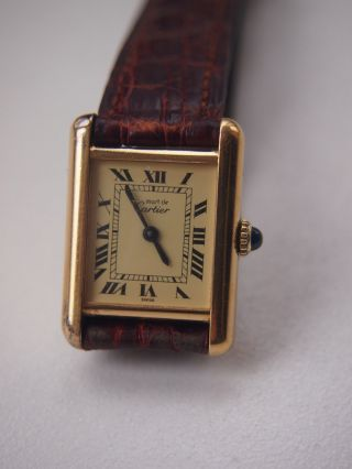 Cartier Tank Damenuhr 925 Silber Vergoldet Bild