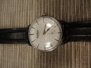 Omikron Retro Armbanduhr Handaufzug Mit Schweizer Uhrwerk Und Lederarmband Bild
