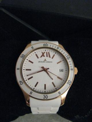 Jaques Lemans Uhr Gross Weiss Rosegold.  Silikon Armband Neuwertig Bild