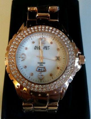 Damenuhr Uhr August Steiner Rotgold Mit Preisschild Np $395 Bild