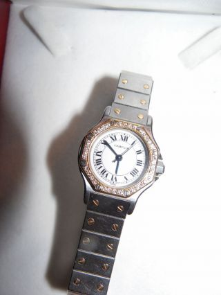 Cartier Damenuhr Lady Santos Mit 24 Diamanten Umfaßt Bild