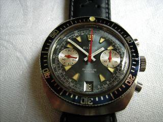 Vintage Edox Edelstahl Chronograph Der 70er Jahre Mit Valjoux 7734 Datum Bild